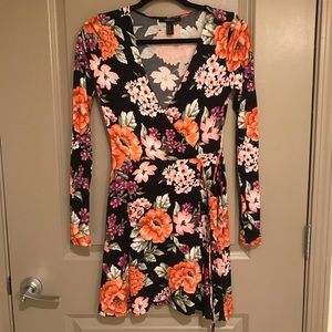 Floral black Wrap dress